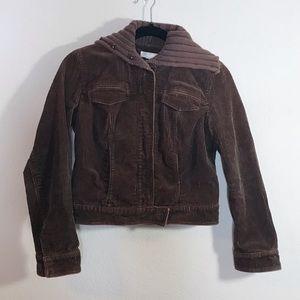 J crew corduroy button up knit cowl neck jacket